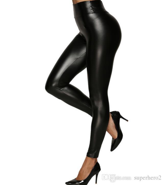 Mulheres Moda de Stretchy Faux Leather Leggings Big meninas Plus Size Sexy cintura alta calças justas brilhante PU magros calças pretas S-5XL