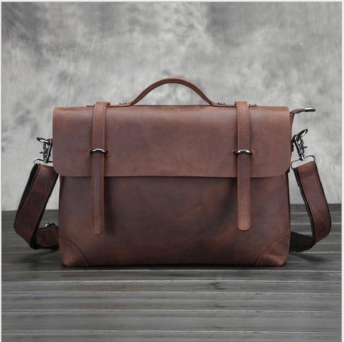 Xiyuan Nouveau Véritable homme en cuir Messenger Sacs en cuir de vache vintage petit sac à bandoulière pour le sac des hommes de sexe masculin Tote dame Crossbody