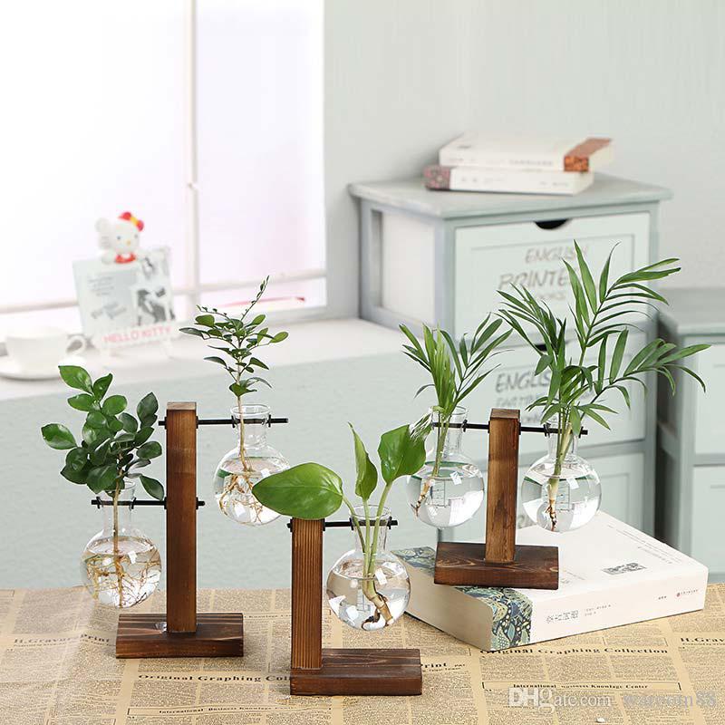 Hydroponic Plant Vases Vintage Flower Pot Transparent Vase Wooden Frame Glass Tabletop Plants Home Terrarium Bonsai Decor