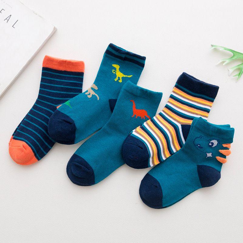 5 Paar Baumwollsocken Herbst-Winter-weiche Karikatur für reizende nette Socken Mädchen-Kind-Kind-Kleinkind-Jungen Mode Sport