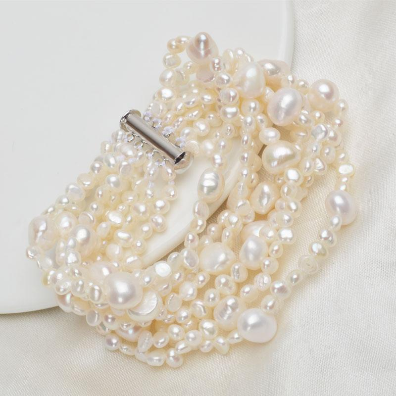 ASHIQI Multilayer Natural Freshwater Pearl Bracelet for women Gorgeous 8 Strand Bracelets 4-10mm Pearl Jewelry