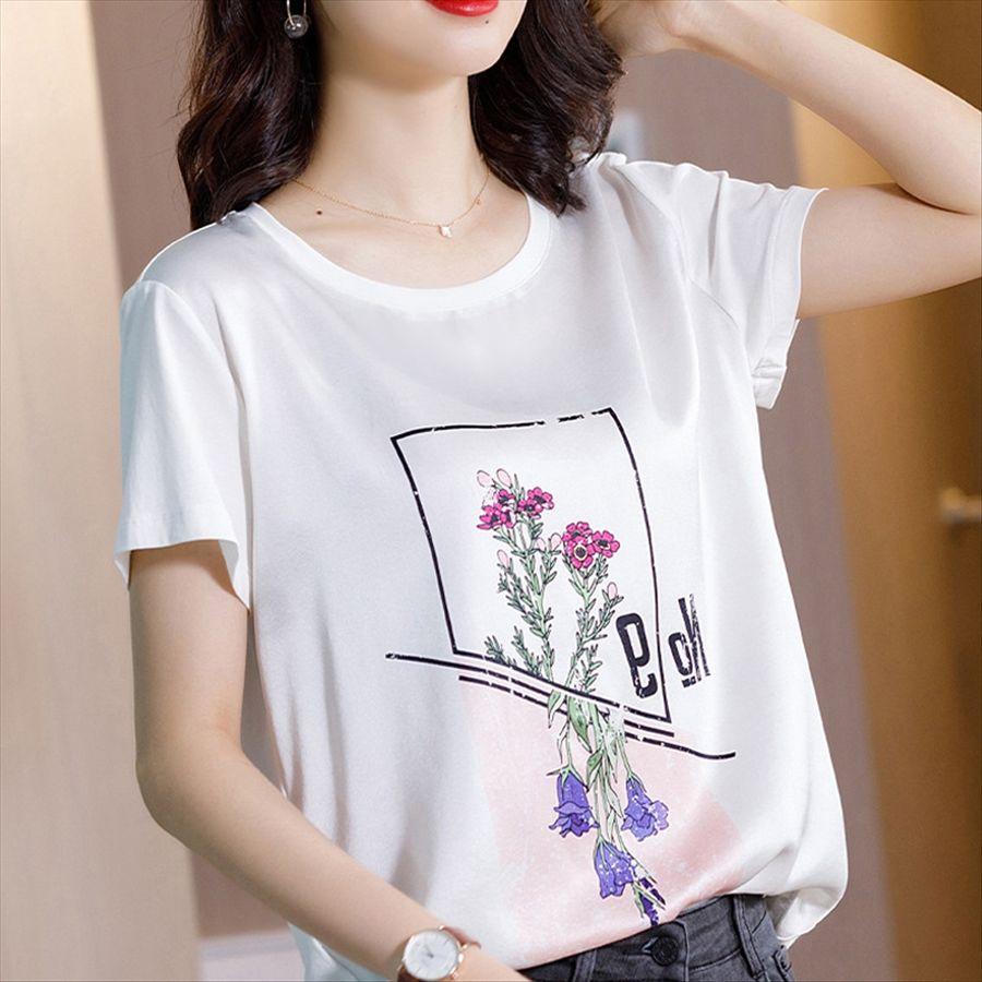 Летняя футболка и футболка с коротким рукавом шелка женщин 2020 Летнего Ханчжоу шелковицы белой внутренней рыхлыми верхней