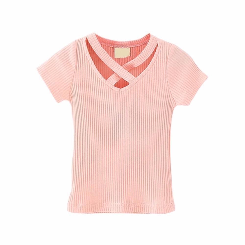Sommer Jungen Einfarbig Kurzarm V-ausschnitt T-shirt Baby Kinder Baumwolle Blank Top Tees Mädchen T-shirt