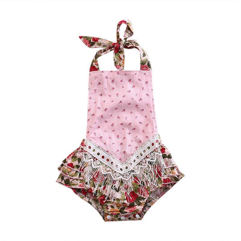 Nascido adorável meninas roupa infantil bonito Adorável Jumpsuit Backless Bodysuit Roupa Infantil Outfit Lace Crochet sunsuit