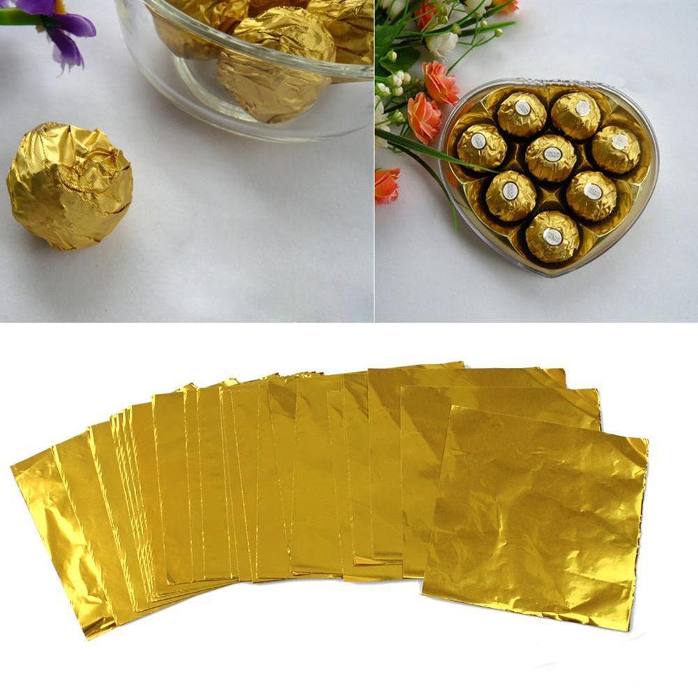 500pcs d'or en feuille d'aluminium bonbons biscuits au chocolat Papier d'emballage Tin Party bricolage métal embosser Emballage cadeau papier Craft 8 * 8 cm