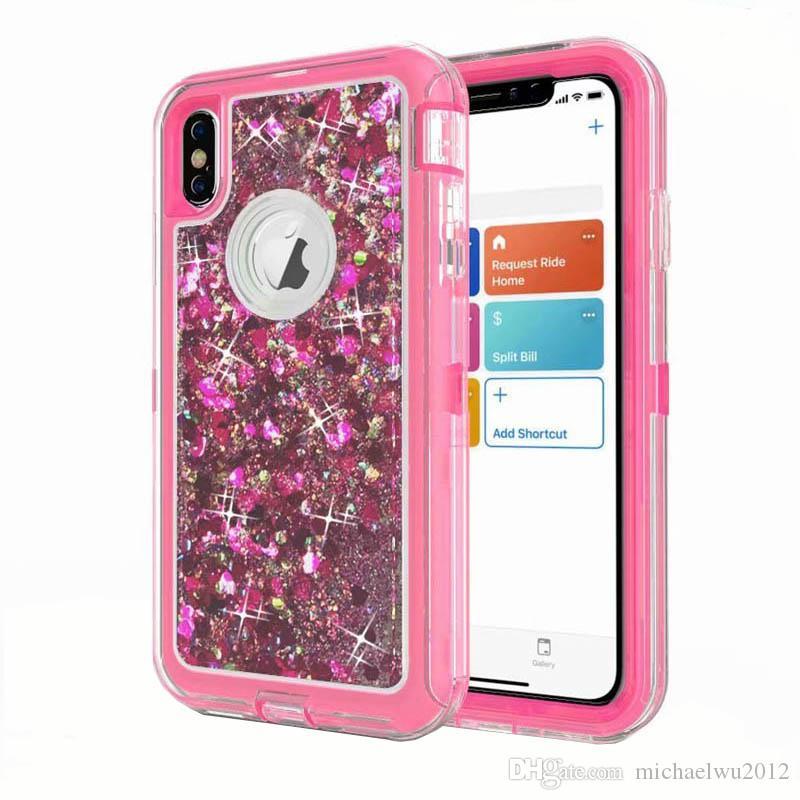 Зыбучие пески чехол для iphone Xs Max 360 TPU блеск Bling жидкий жесткий полная защита ударопрочный чехол для iPhone XR 8 7 plus X