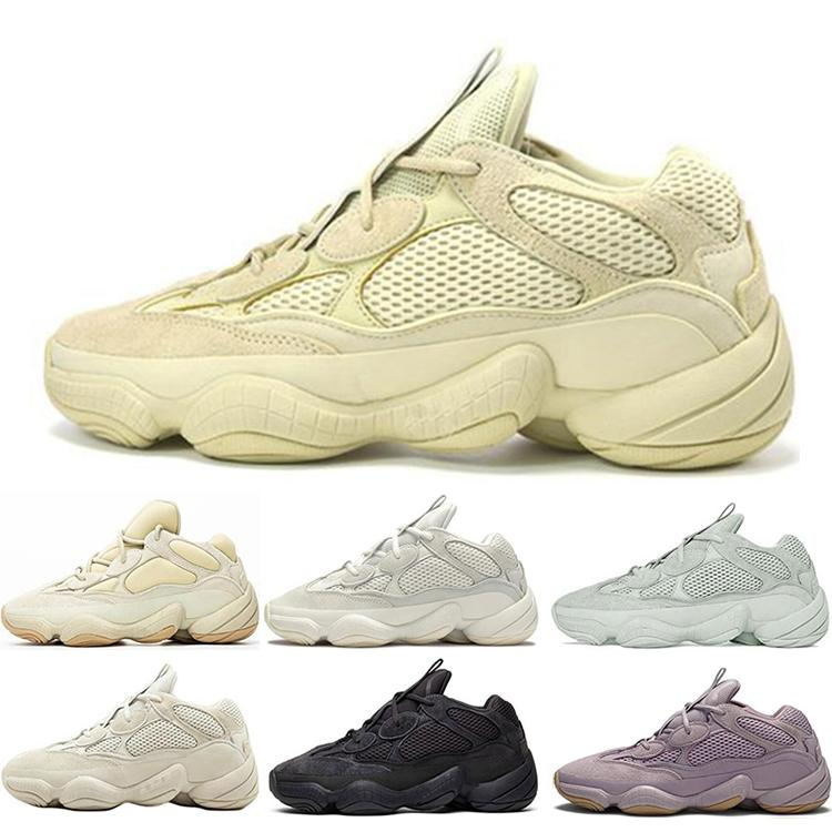 신발 남성 여성 고품질의 운동화를 실행하는 새로운 카니 예 웨스트 사막의 쥐 (500) 소프트 비전 돌 뼈 화이트 홍당무 유틸리티 블랙 소금