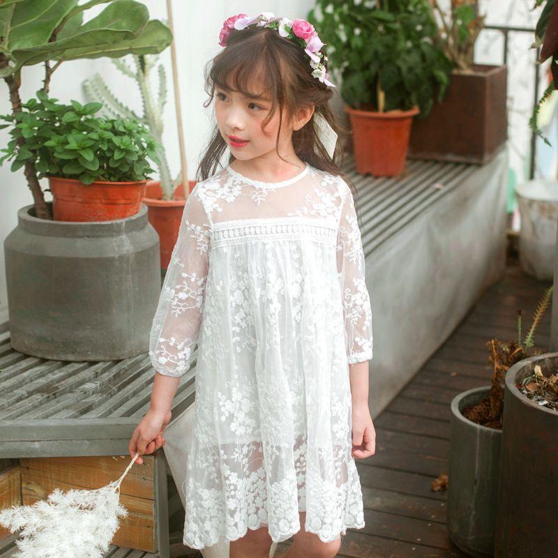 Yaz Kızlar Giyim Çocuklar Elbiseler Beyaz Dantel Çiçek Elbise Kız Parti Gelinlik Çocuk Prenses Kız Elbise Rt283 Y190516