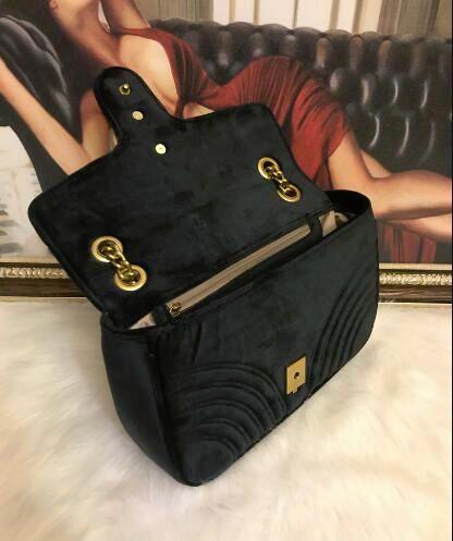 Designer qualité Mode femme Sacs à bandoulière classique d'or de la chaîne 26cm velours Sac de coeur de style femmes sac à main fourre-tout Sacs à main Messenger