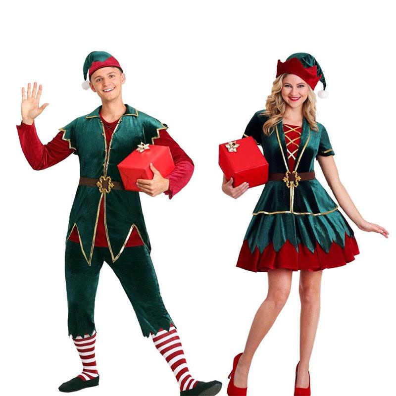 green and red Christmas Adult Clothes Men Women Girls Santa Claus Mascot Costume Suits Plush Father Cosplay Beautiful Fancy Dress Xmas Gift