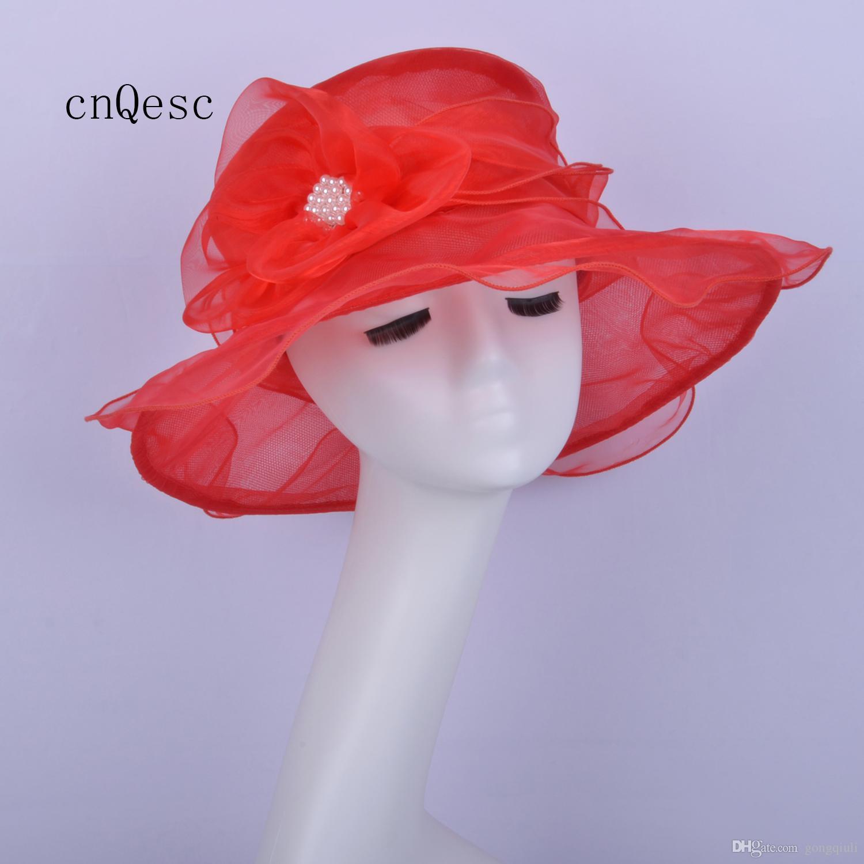 2019 Rojo pequeño borde de Organza Hat Net hat para mujer vestido formal sombrero para Kentucky derby iglesia boda carreras fiesta
