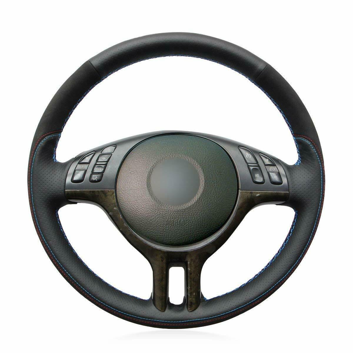Diy hand sewing Car Steering Wheel Cover for BMW E39 E46 325i E53 X5