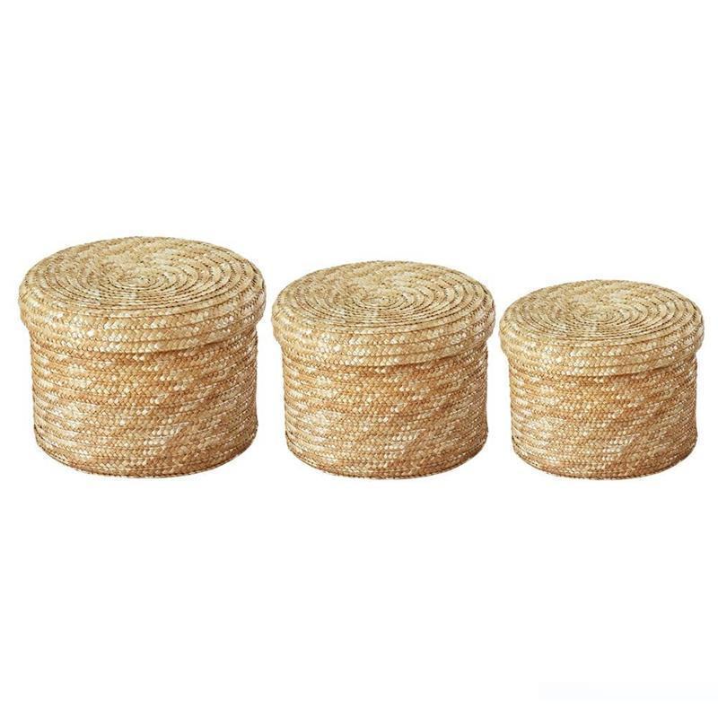 rattan basket small from storage box.htm 2020 set handmade straw woven storage basket with lid snack  handmade straw woven storage basket