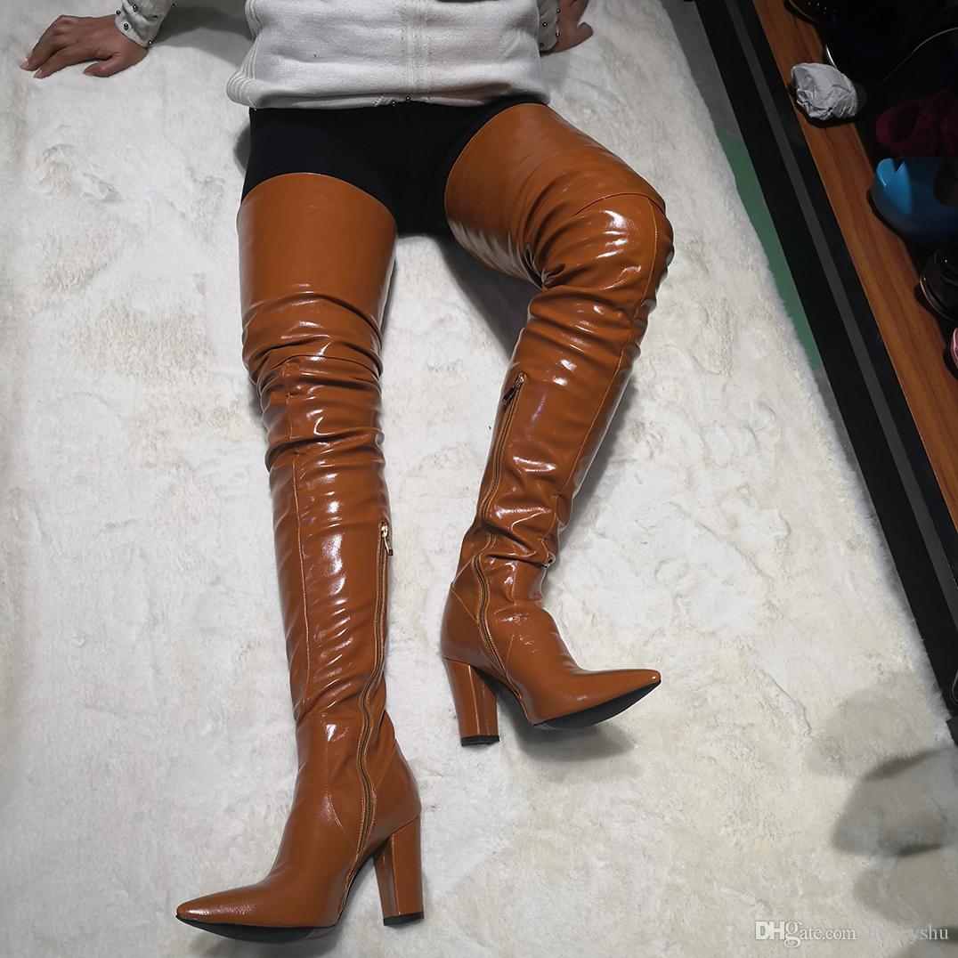 Kolnoo Hot New Arrival Mulheres Chunky Heel Coxa-alta Botas Dedo Apontado Toe Inverno Sobre Botas Do Joelho Sexy Clube de Dança Moda Sapatos de Vestir D147-1