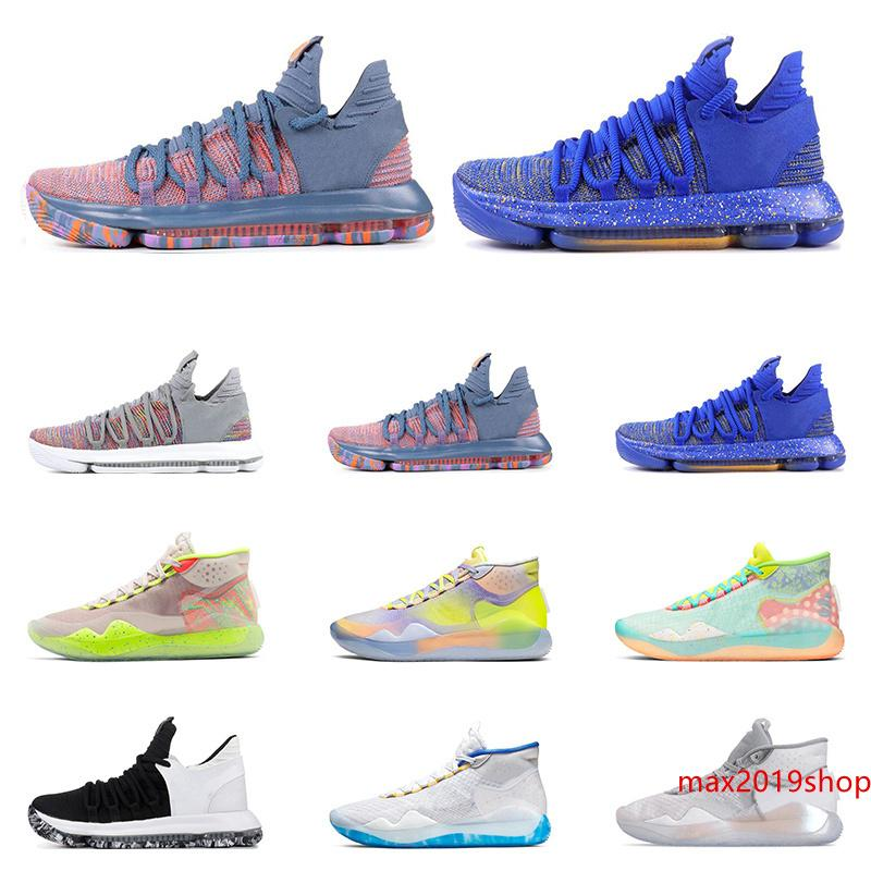 2019 Yeni KD 10 12 Erkekler Basketbol ayakkabıları SİYAH BEYAZ FİNAL Kurt Gri WARRIORS ANA EYBL 90S ÇOCUK TÜM Spor Sneaker Size7-12 eğitmenler