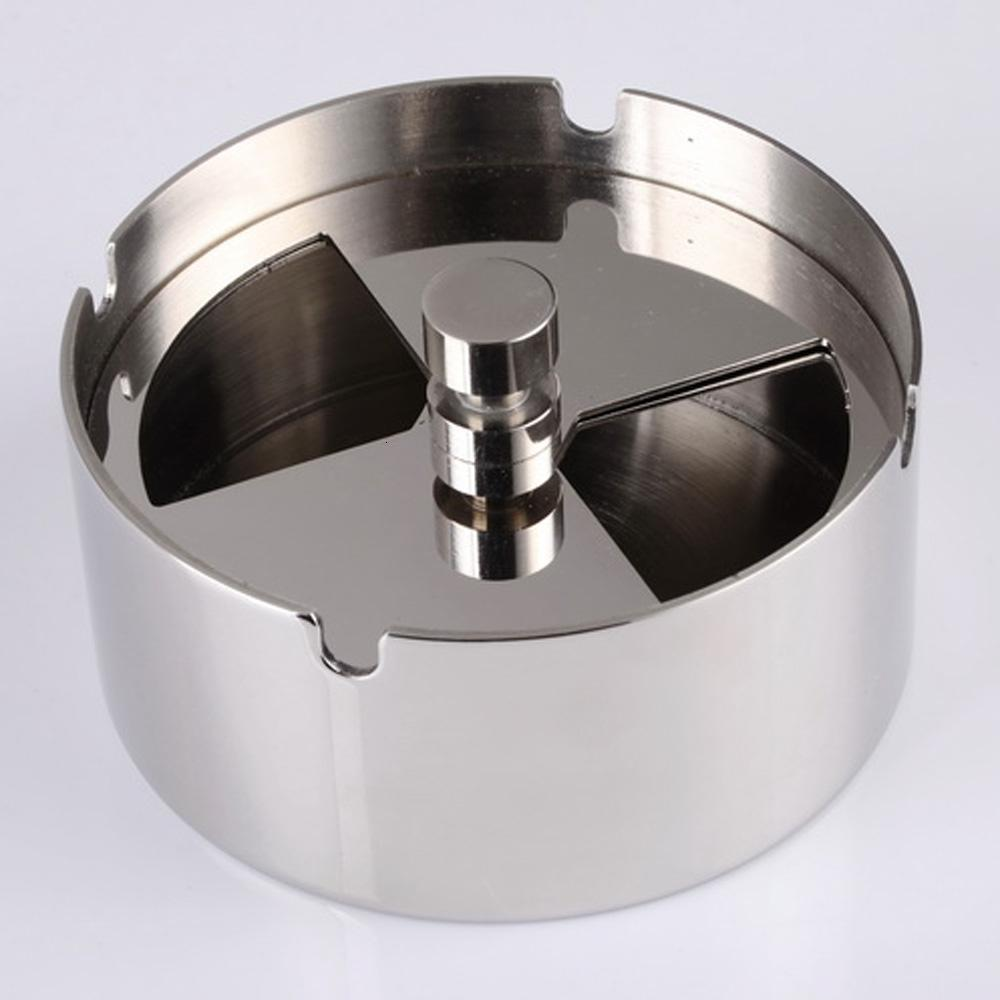 Di alta qualità in acciaio inox Posacenere tondo girevole Posacenere con Spinning Posacenere antivento vassoio per l'hotel domestico SH190926