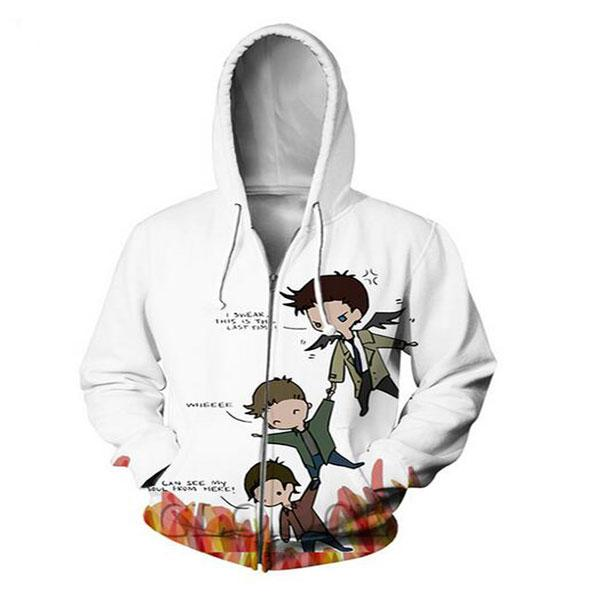 Neue Art und Weise Zipper Hoodies Supernatural Cas Dean und Sam 3D Print Zip-Up Hoodies Sweatshirt Männer / Frauen Harajuku Outfits Tops