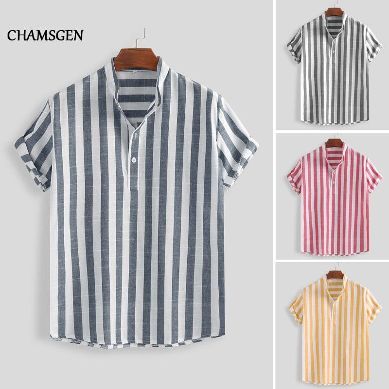 CHAMSGEN Japon Stili Hawaii Plaj Gömlek Casual Streetwear Yaz Hawaii Tatil Gömlek Kısa Kollu Çizgili BlusasF519 Mens