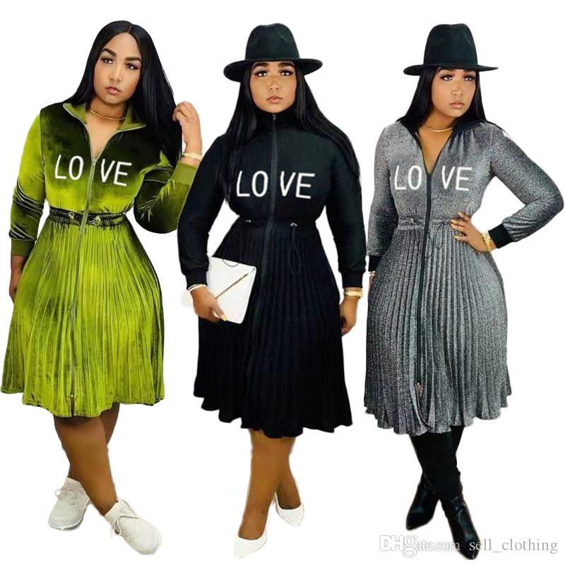 Plus size Frauen Normallack faltete einteiliges Rock lang Hülsentaille Kleid lässig Druck Buchstaben Rock Herbst Winter Art und Weise lose Rock 2138