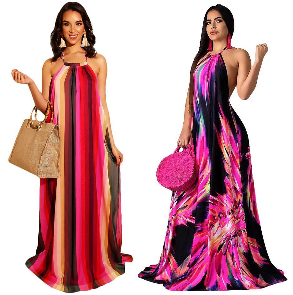 2019 Europe and the United States hot fashion spring and summer women's digital printing hanging neck mopping big dress