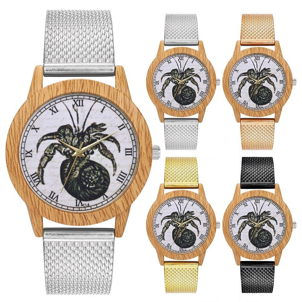 New Zhoulianfa grain de bois Case unisexe Couple Mesh Bracelet montre à quartz