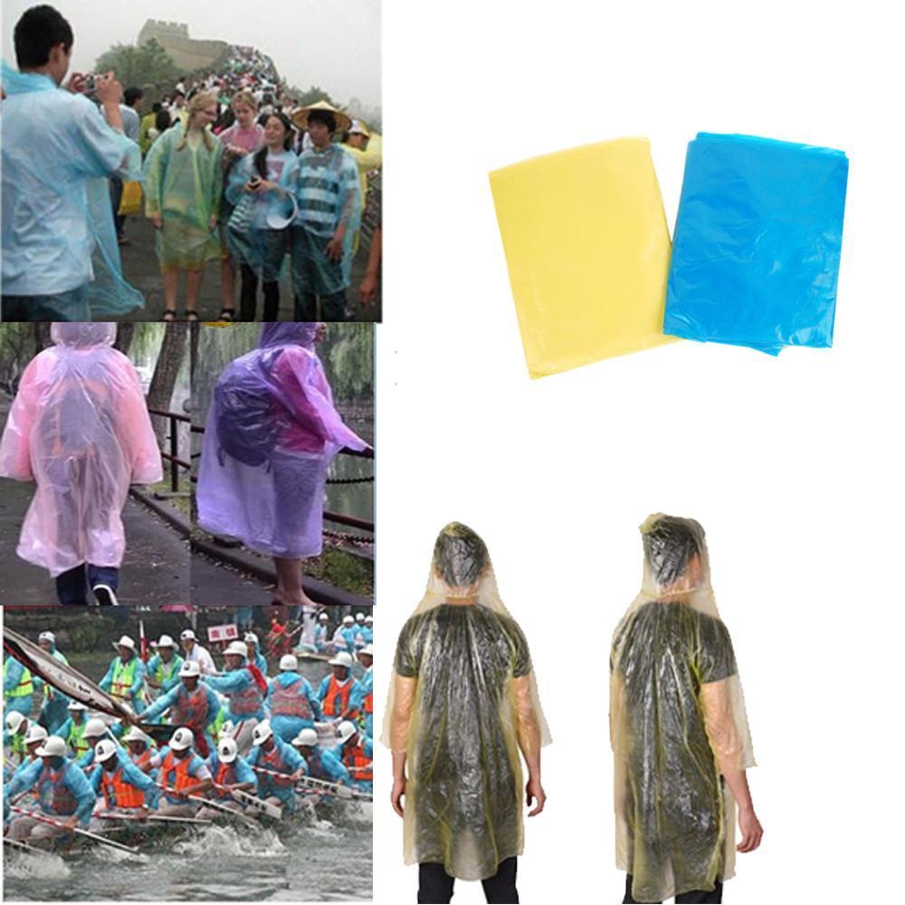 Bir seferlik Yağmurluk Tek Kullanımlık PE Trençkotlar Panço Rainwear Acil Yağmur Giyim Gezi Yağmur Coat Tek Rainwear CCA12111 500pcs