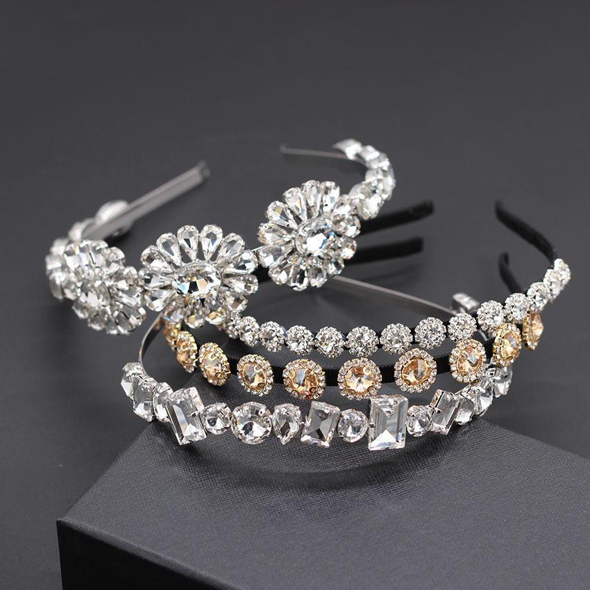 Basit elmas taklidi yabani büyük çiçek saç bandı Barok moda kişilik çok renkli şeffaf kristal çiçek yabani 867 saç bandı