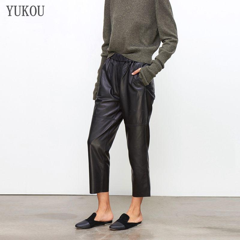 Pantalones de las mujeres 100% cuero genuino de las ovejas 2019 Moda auténtico real de los cultivos de piel de oveja Jeans correa elástico pantalones de cintura