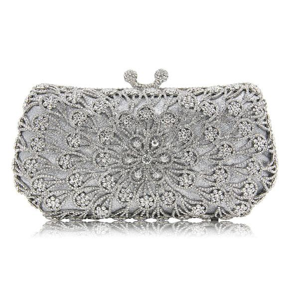 New Women gold Crystal Diamonds dinner day Clutches Evening Bag for Party Wedding clutch wallet Purse grey Clutches Bag