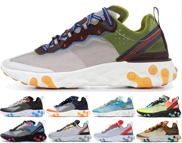 sport shoes UNDERCOVER X Camo React element 87 55 Designer shoes men women Orange Peel Moss Sail triple black white trainers sneakers