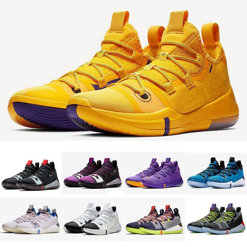 Горячая Мамба AD Лейкерс фиолетовый золотой обувь для продажи бесплатная доставка 2019 интернет-магазин спортивной баскетбольной обуви размер 40-46