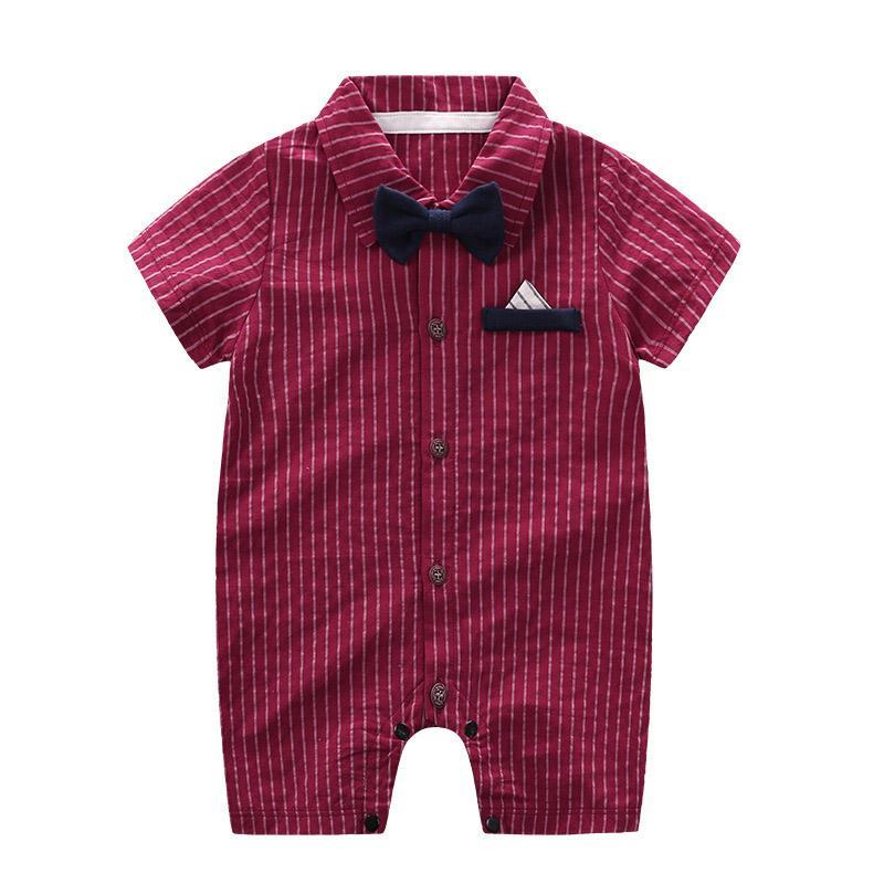 Bambino appena nato pagliaccetto infantile brevi Slleeve righe delle tute Kids Designer Abbigliamento bambini rifornisce Turn-down Collar Bow Gentleman Onesies 060228