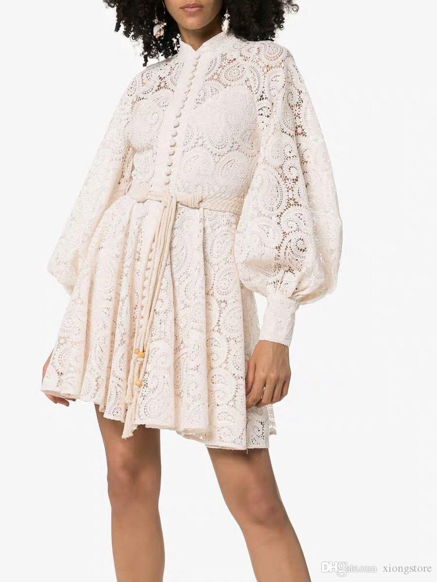 Boho 2019 (High) 저 (Quality Luxury White 및 Black 활주로 가을 Women 드레스 Sexy (High)