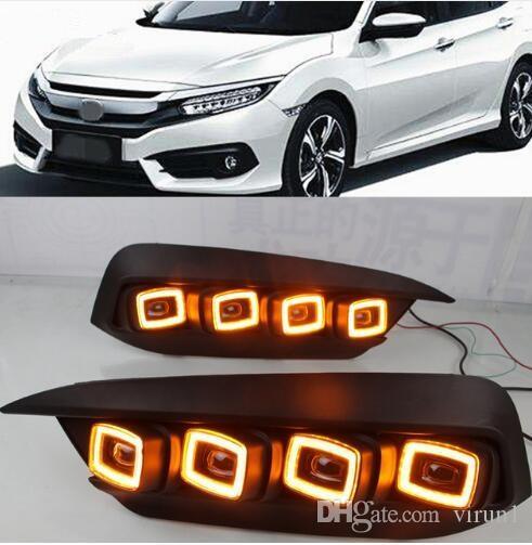 2PCS LED Daytime Running Light For Honda Civic 2016 2017 2018 Flowing Turn Yellow Signal Relay Car DRL 12V LED Fog Lamp