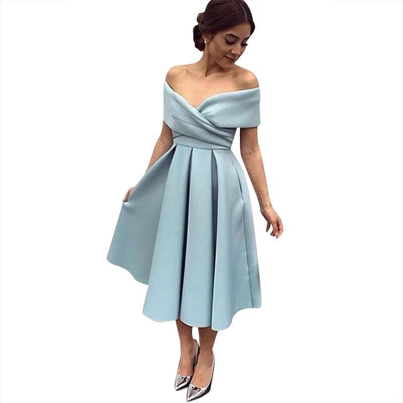 Partito breve Satin abiti delle donne al largo della spalla V Neck tea-lunghezza sera del vestito da cocktail con tasche Prom Dress Mid-polpaccio
