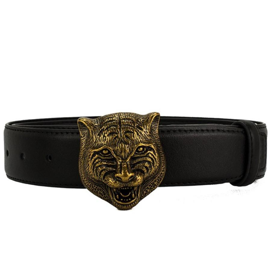 Tiger pelle bovina Designer cintura per uomo donna cinghia di modo della tigre Smooth Belt Buckle bovina di qualità nero Brown altamente colori facoltativi