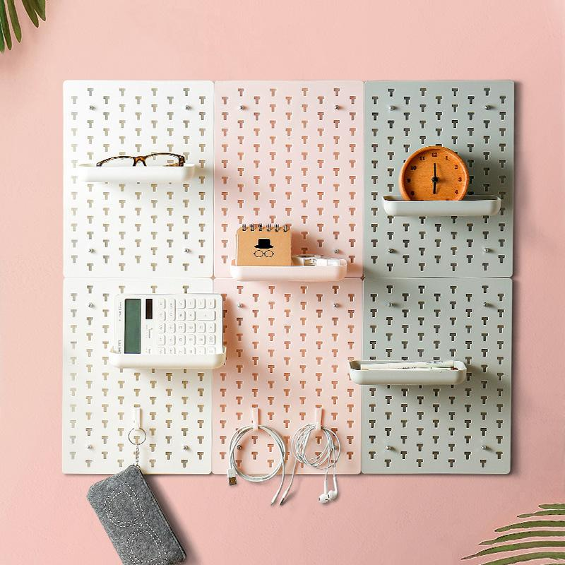 Pegboard Craft Storage Organizer Wall Mounted Display Plastic Waterproofr Wall Shelf for Living Room Kitchen Bathroom T200320