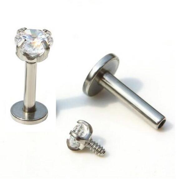 الخيوط الشق جوهرة الزنمة اللولب هيئة ثقب الأذن JewelryStar الشفة الدائري زركونيا مكعب داخليا
