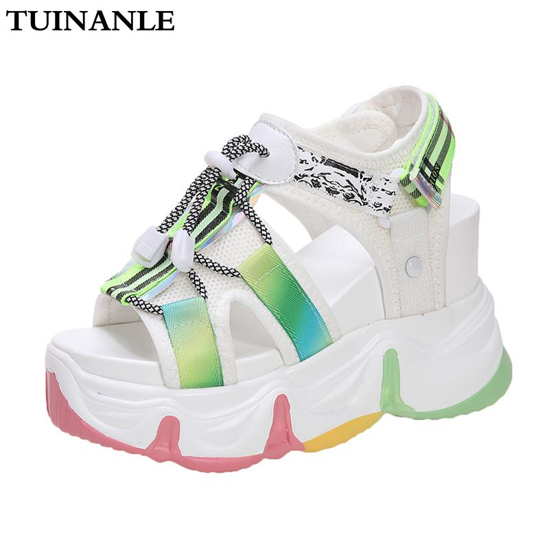 TUINANLE Platform Sandals Women Muffin Bas 2020 Chunky Sandal Super High Talon arc-en-Sole Summer Beach Chaussures Sandalias Mujer T200529