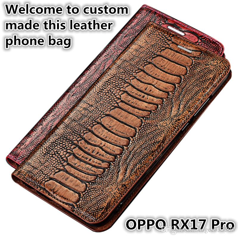 QX15 Ostrich Foot Pattern Gneuine Leather Flip Phone Bag For OPPO RX17 Pro Magnetic Case With Kickstand OPPO RX17 Pro Phone Case