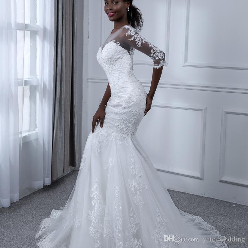 Hot African Lace Wedding Dresses Illusion Medias mangas de novia Robe de mariée en dentelle Tulle Sweep Train Vestidos de novia Envío gratis
