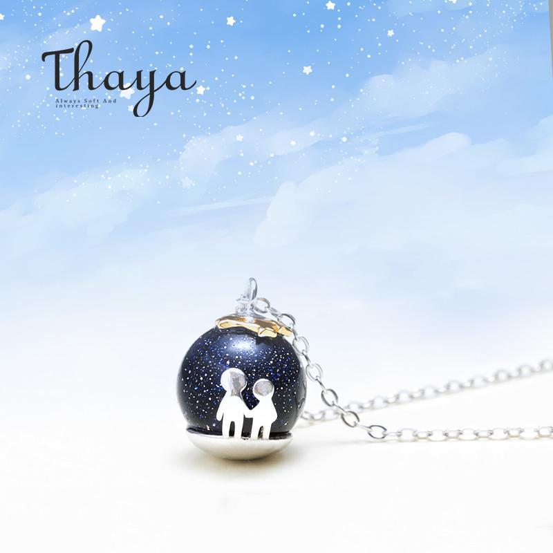 Thaya Partido Gravel azul Gem Stone pingente de colar S925 Sterling Silver Crianças Infância Colar Para Mulheres Chic Unique Gift LY191217