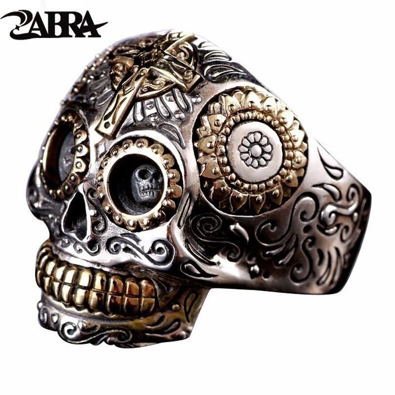 Zabra Luxury Solid 925 Sterling Silver Skull Ring Men Vintage Punk Rock Cross Gold Big Heavy Mens Gothic Rings Bague Homme Biker C19032101