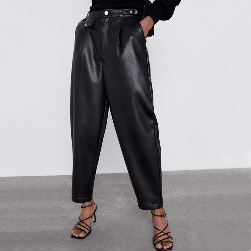 ZOEPO Faux Leather cintura alta Calças Mulheres Moda solto PU Calças Mulheres Pockets elegante Cuecas Ladies JP