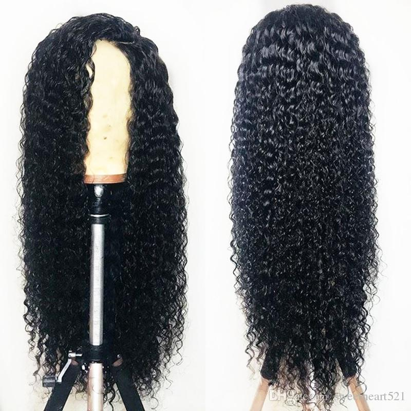 Sweetheart high temperature 180% density long kinky curly wigs with baby hair black color glueless synthetic lace front wigs for black women