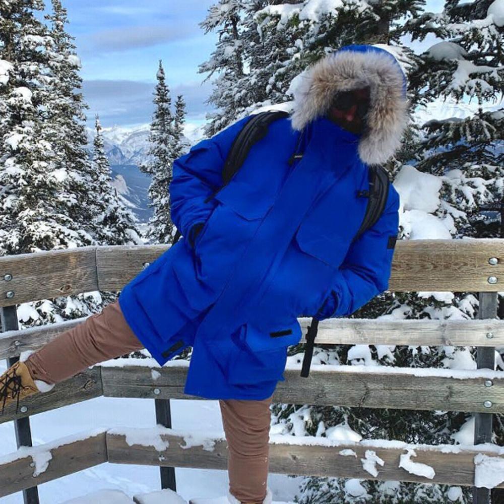 Мода волосами G00SE Открытый длинный пуховик EXPED1TION Solid Color Man Женщины TOP Качество Пара зима теплая Открытый парк Coat HFLSYRF092