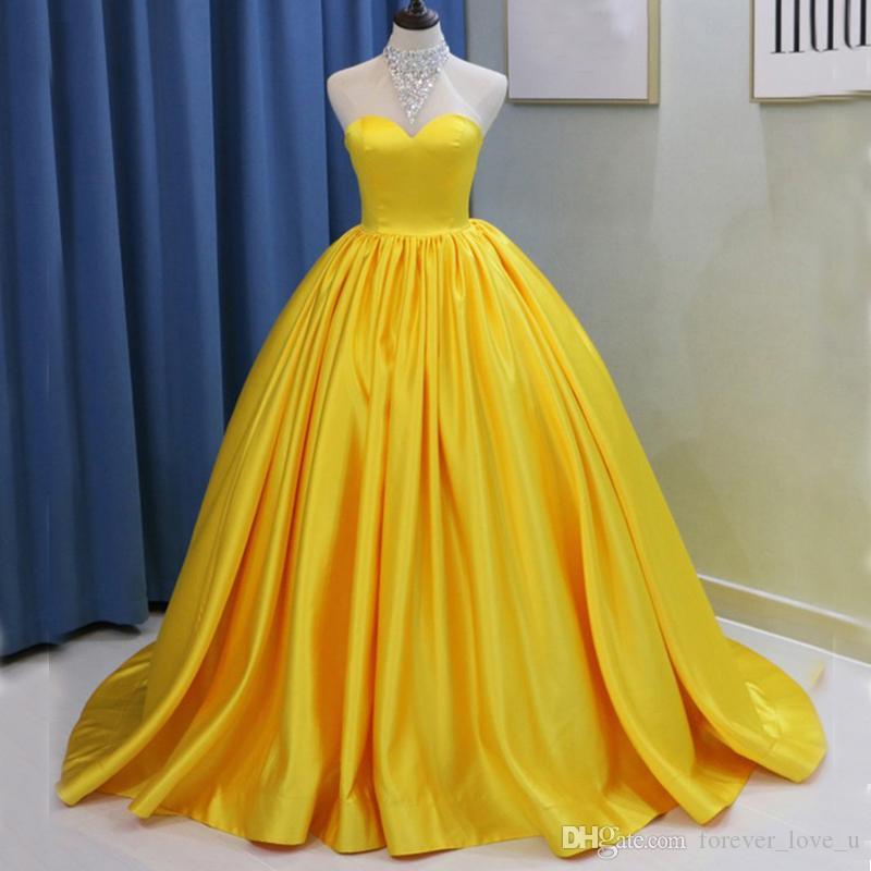 Gelb Satin Prom Kleider Kristalle High Neck Sleeveless Ballkleid Abendkleid Reißverschluss bis zurück Sweep Zug Günstige Qualität