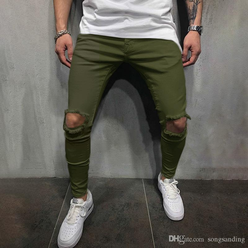 2019 Moda Rasgado Calças Lápis dos homens Sólida Casual Calças Compridas para Homens Calças Regulares com Buracos Cintura Média Streetwear pantolon erkek ST042