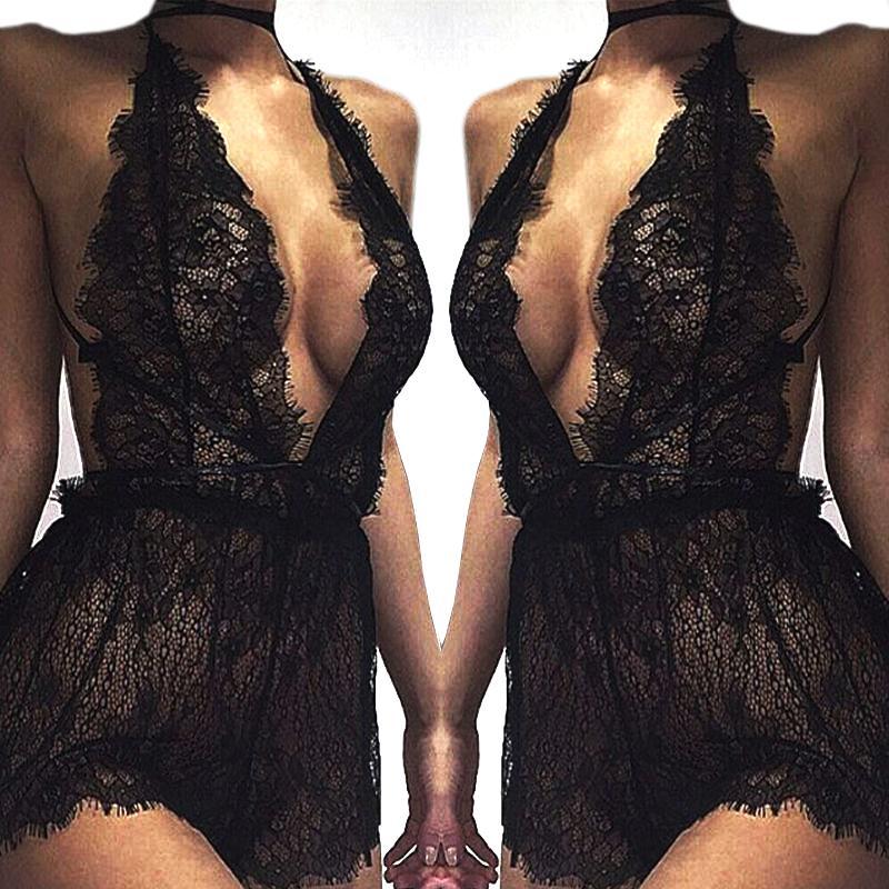 V atacado- Mulheres Ladies malha Lace Pijamas Sexy Neck Erótico Babydoll Lingerie Strappy Bra Halter Night Dress Bodysuit robe de nuit fz0171