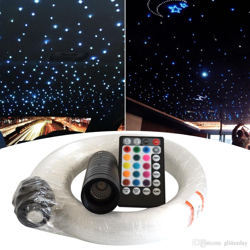 자동차의 경우 RGB 섬유 스타 라이트 신문 기사 모음집 (300) 400 가닥 음성 제어 6W LED 광섬유 조명 키트